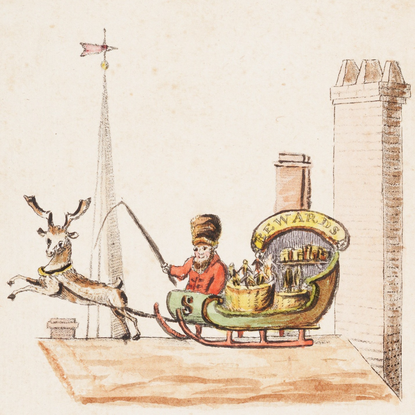 Illustration to verse 1 of  Old Santeclaus with Much Delight , published in 1821.