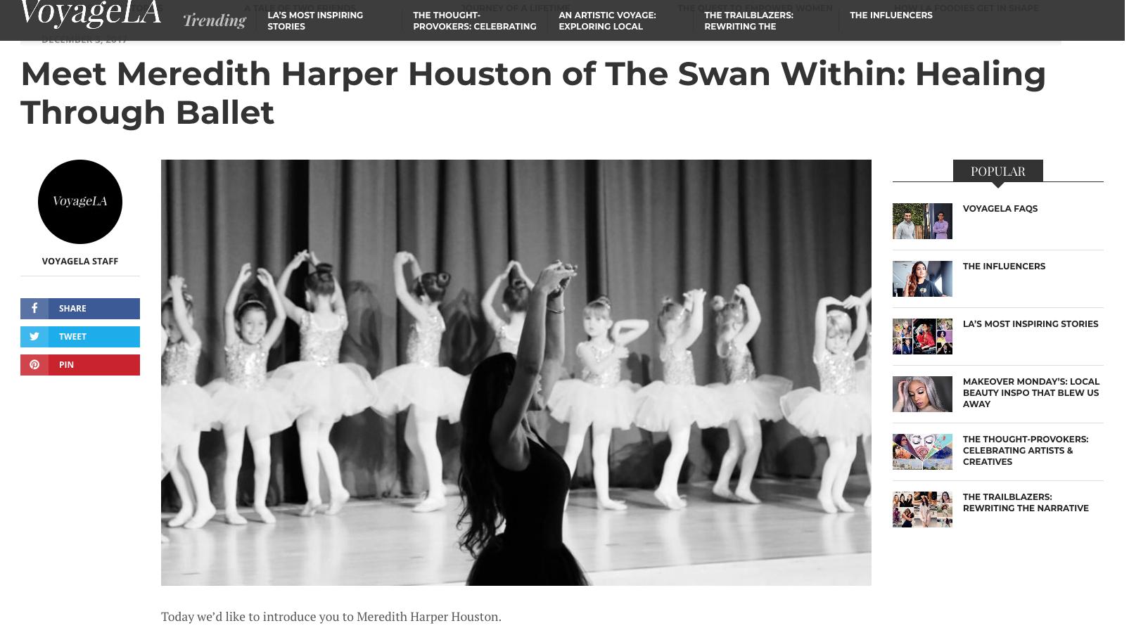 """Meet Meredith Harper Houston of The Swan Within: Healing Through Ballet"" in  VoyageLA"