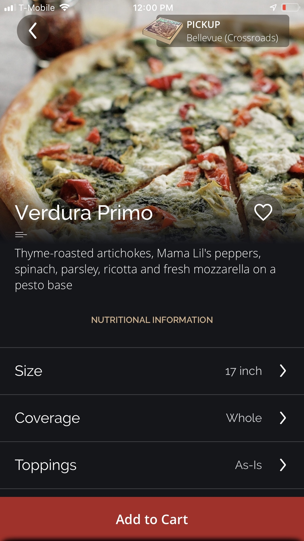 "Relevant Variables - I can see by the image displayed above, the headline, and the text, that I successfully selected ""Verdura Primo"" as one of my two flavors. There were the size, coverage and topping options.When I was about to select the size, I noticed there was a default option of 17 inches. Smart, if you do not tap on ""Size"" and check what other options do you have, most likely you will buy the pizza with the higher cost."