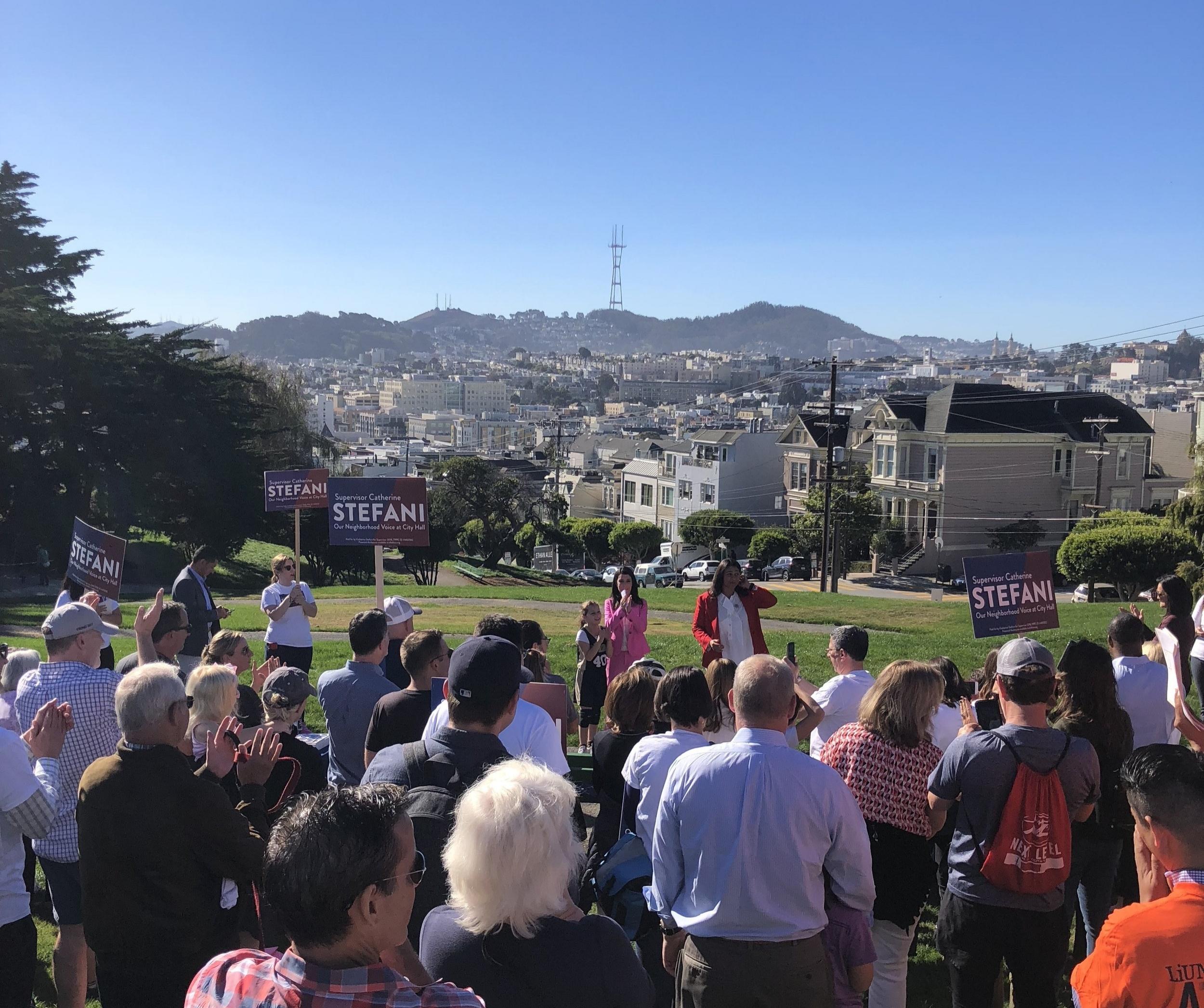 Supervisor Stefani addresses a rally on November 3 at Alta Plaza park