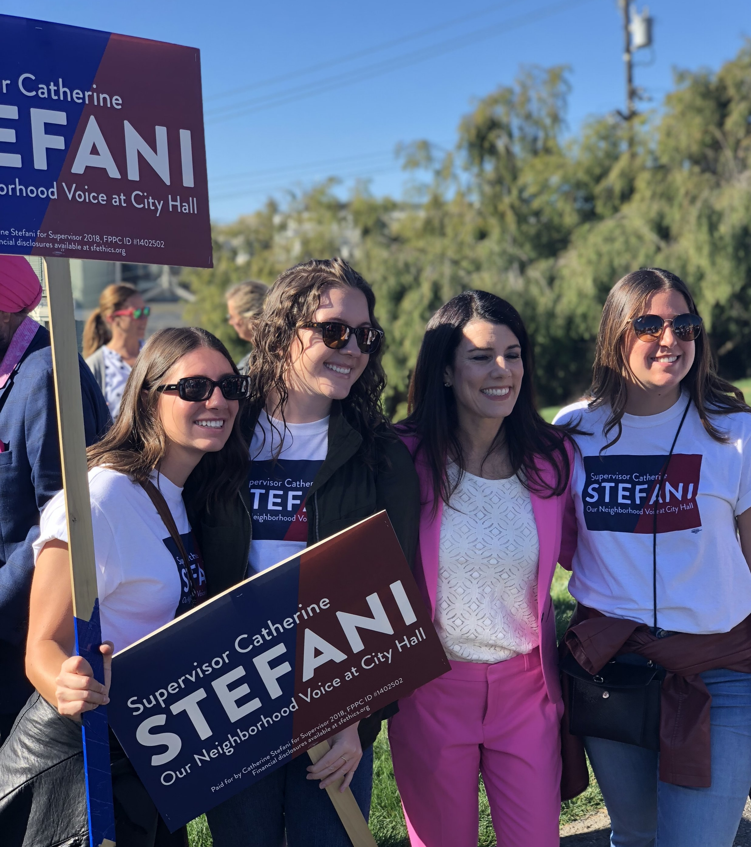 Supervisor Stefani with supporters