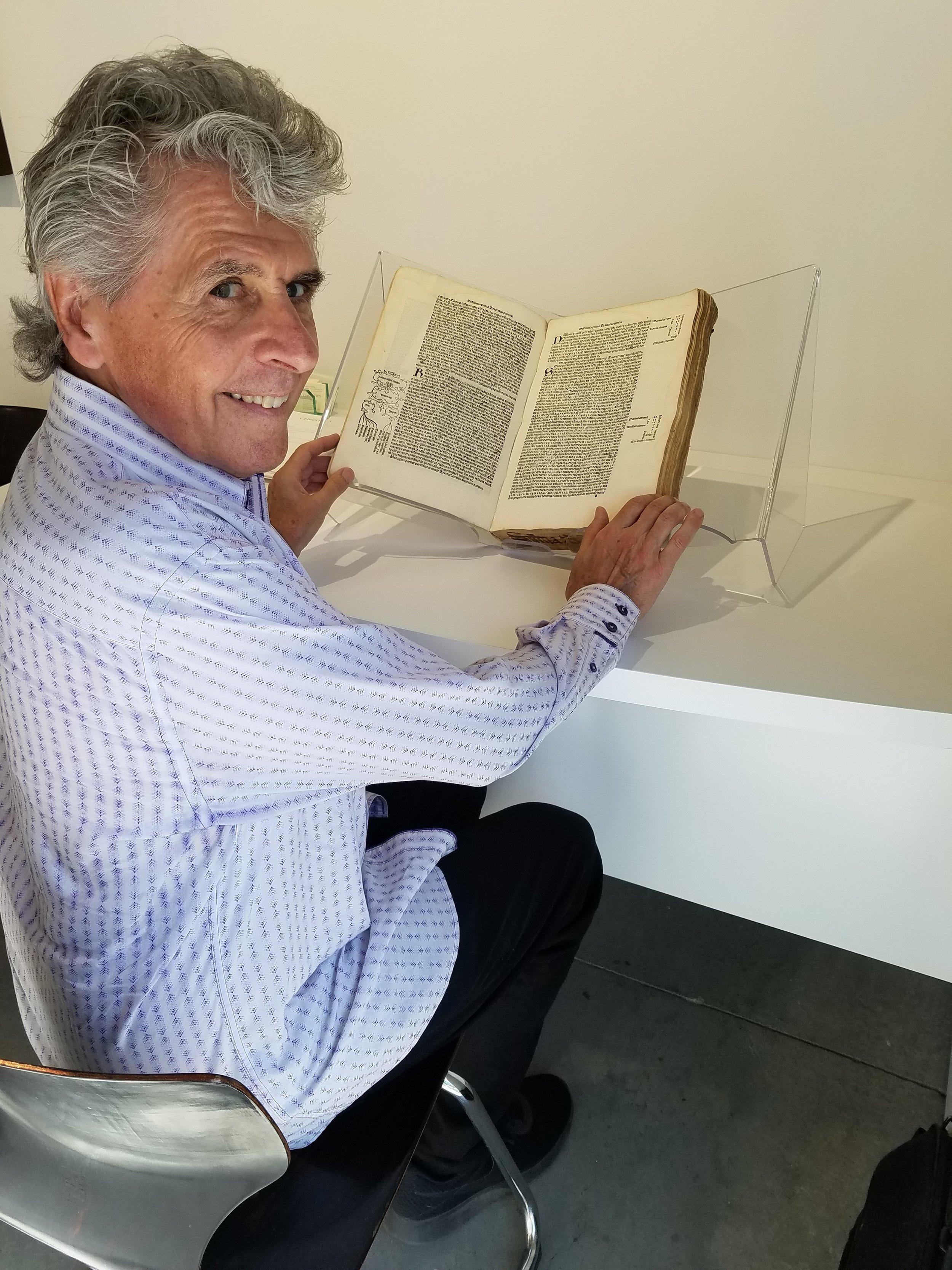 Examining a first edition copy of Pacioli's book  Summa  (1494)