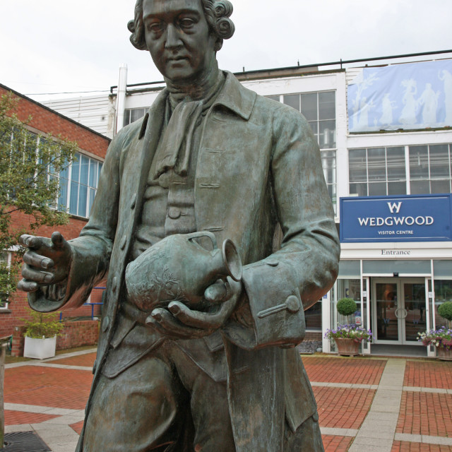 Statue of Josiah Wedgwood at the Wedgwood factory in Staffordshire, UK