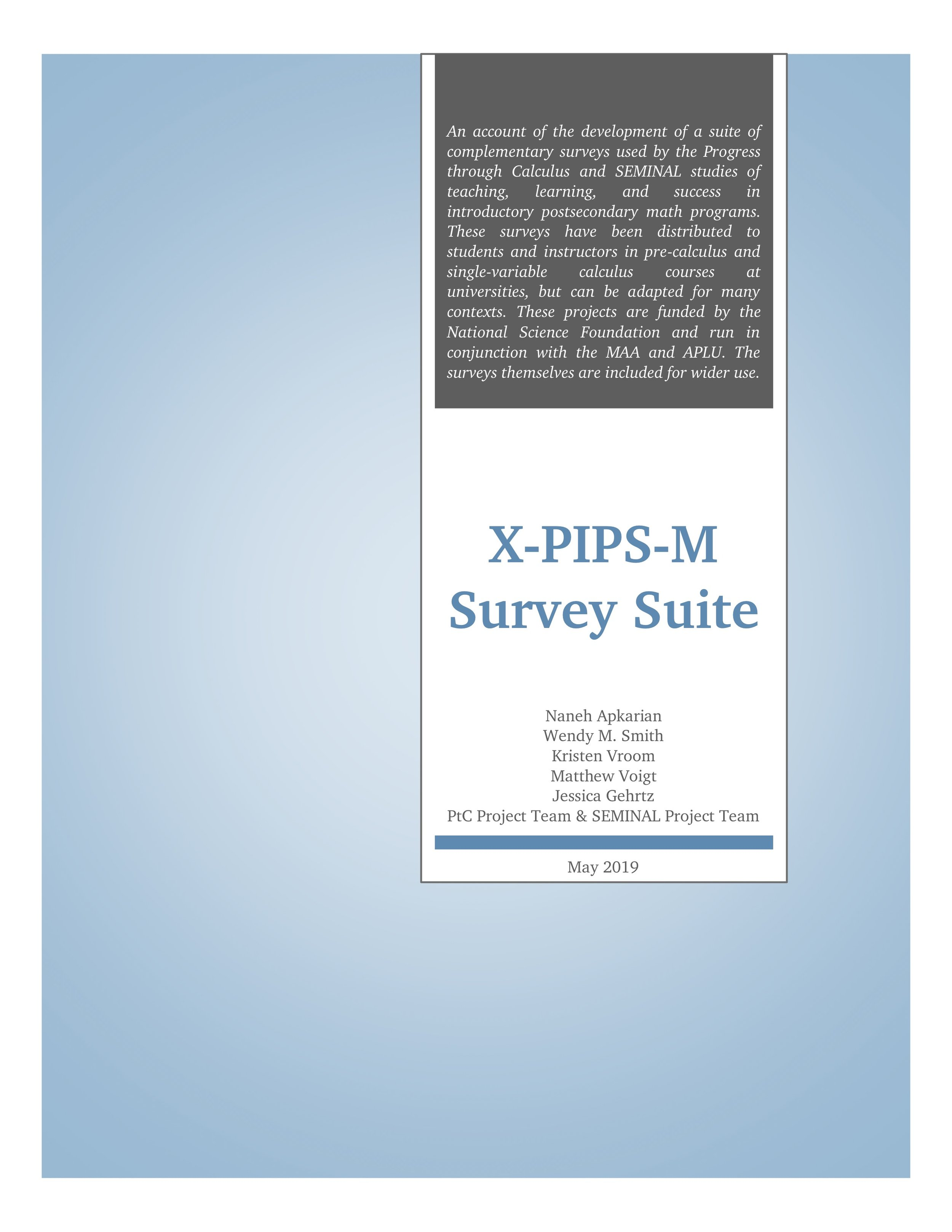 Cover of X-PIPS-M Survey Suite