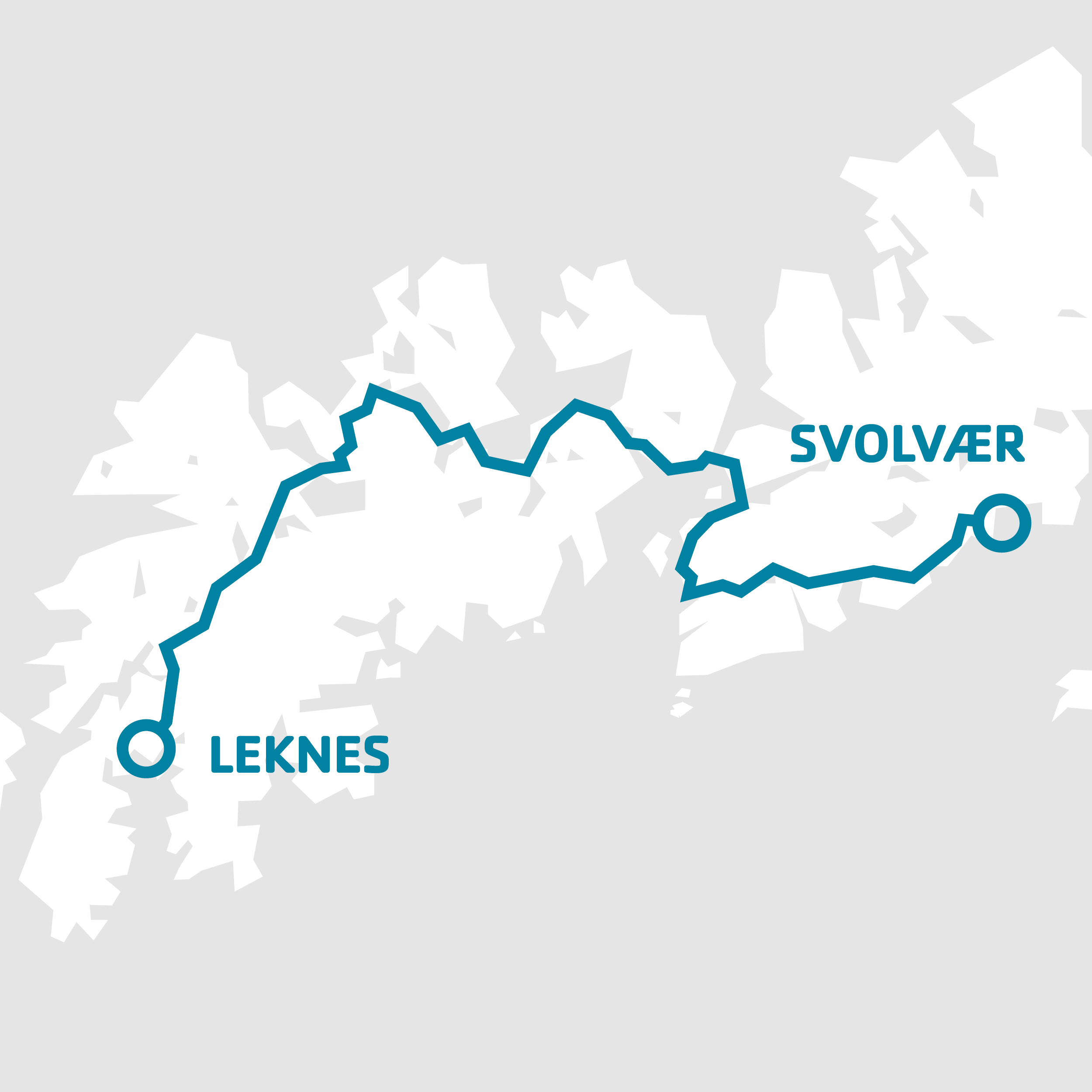 Routes: 18-741   Total journey time: 1 hour 30 minutes   Recommended stops: Leknes, Borg, Kabelvåg and Svolvær.