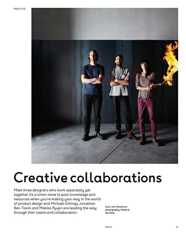 Hello everyone, These very friendly looking folks are me and my mates, Jonathan Ben-Tovim from @bentovim_design and Michael Gittings from @michaelgittingsstudio (from left) at our studio. Our story is on Inside the latest issue! Story of two very creative men with a witch possessed with fire..... Thank you Jan from Henderson Media for sweet article!