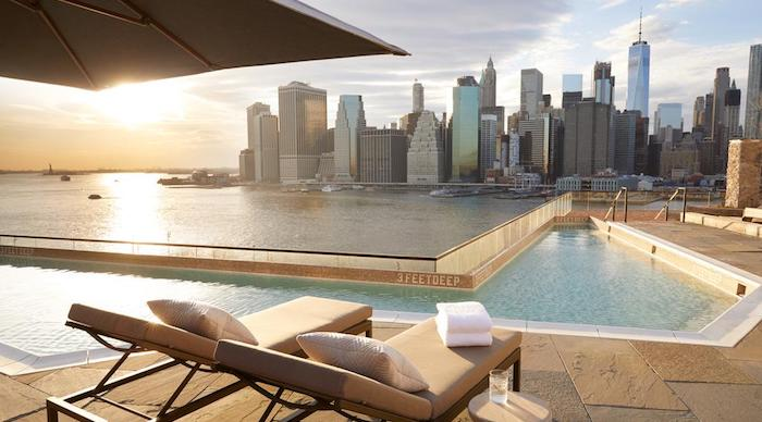 View from the Rooftop Pool at the 1 Hotel Brooklyn Bridge