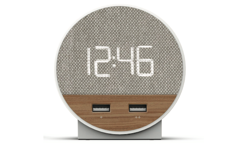 Hotel Alarm Clock with Dual USB, Dual AC Outlets, and Qi Wireless Charging