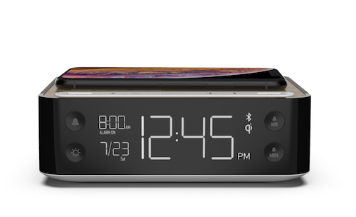 Hotel Alarm Clock with Dual USB, Qi Wireless Charging, and Bluetooth Speaker