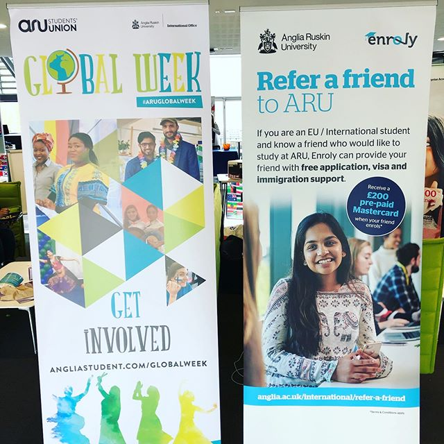 The @enroly_friends team are on campus @angliaruskin for #globalweek - if you know someone planning to study overseas refer them now for free support www.anglia.ac.uk/international/refer-a-friend