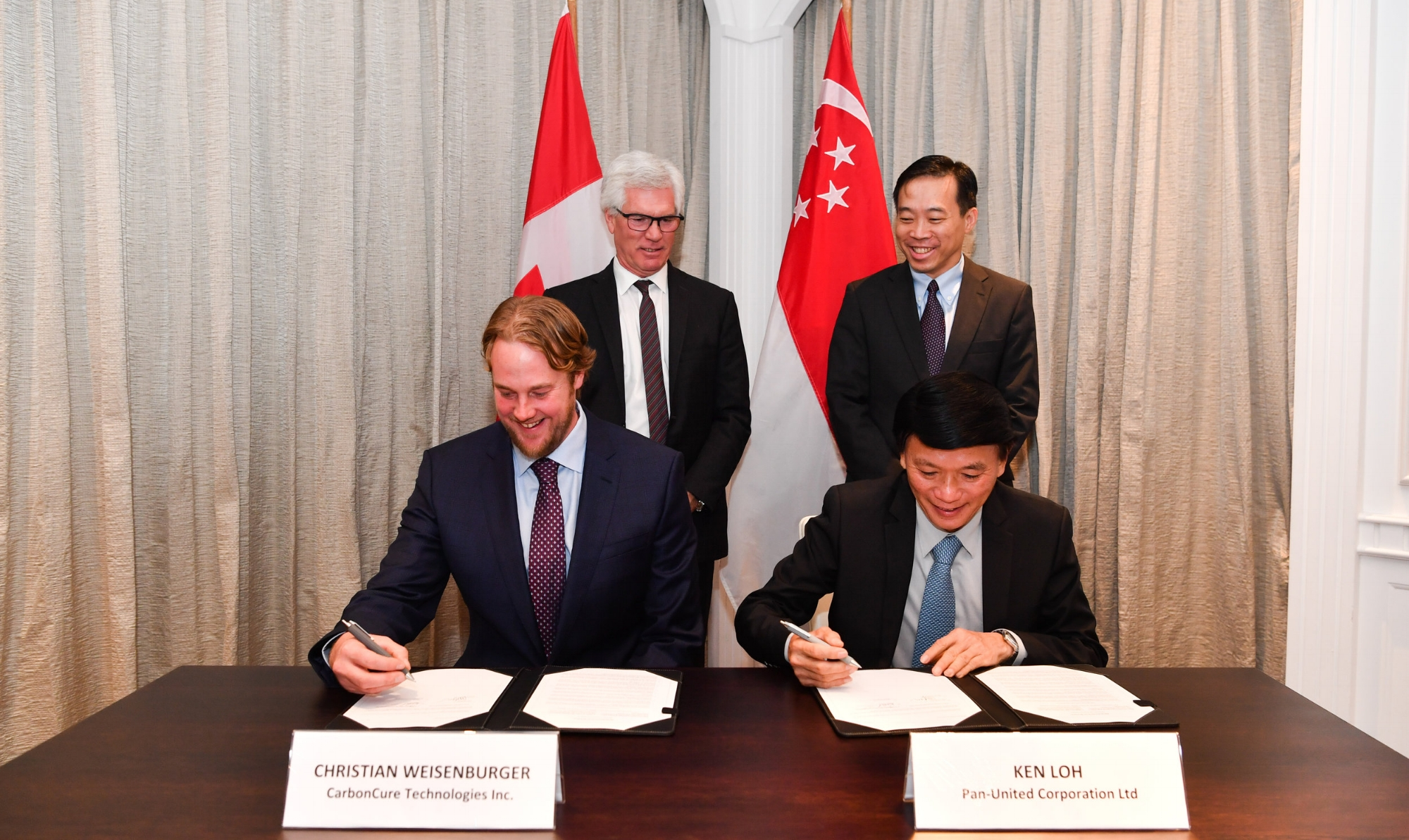 The Strategic Partnership Agreement signing ceremony took place on November 15, 2018 in Singapore between Pan-United and CarbonCure. It was jointly witnessed by the Honourable James Gordon Carr, Canada's Minister of International Trade Diversification, and Mr Png Cheong Boon, Chief Executive Officer of Enterprise Singapore, the Singapore government agency championing enterprise development.      CarbonCure Founder and Chief Executive Officer, Mr Robert Niven, was represented by Mr Christian Weisenburger, CarbonCure General Counsel. The Pan-United signatory was its Executive Director, Mr Ken Loh.