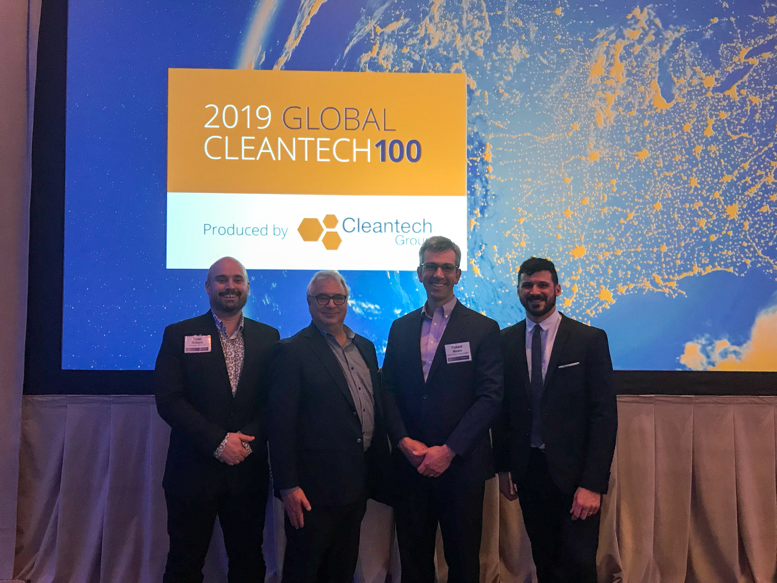 Keith Gillard (Pangea Ventures), Tony Van Brommel (BDC Capital's ICE Fund), Robert Niven (CarbonCure's CEO and Founder) and Pascal-Hugo Plourde (Sustainable Development Technology Canada) at the 17th annual Cleantech Forum in San Francisco.