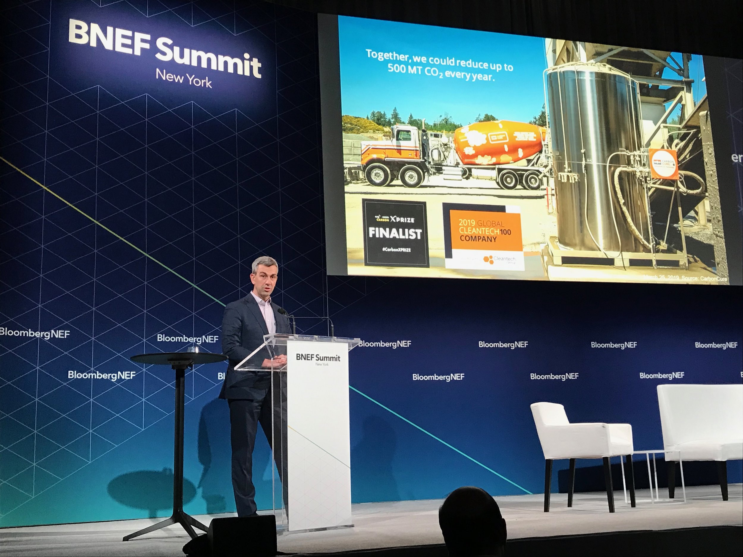 Rob Niven accepts the New Energy Pioneers award on behalf of CarbonCure on March 25, 2019 at the BNEF Summit.