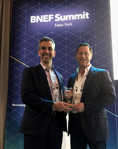Rob Niven with CarbonCure Board of Directors member Chris Poirier of  Breakthrough Energy Ventures  at the BNEF Summit in NYC.