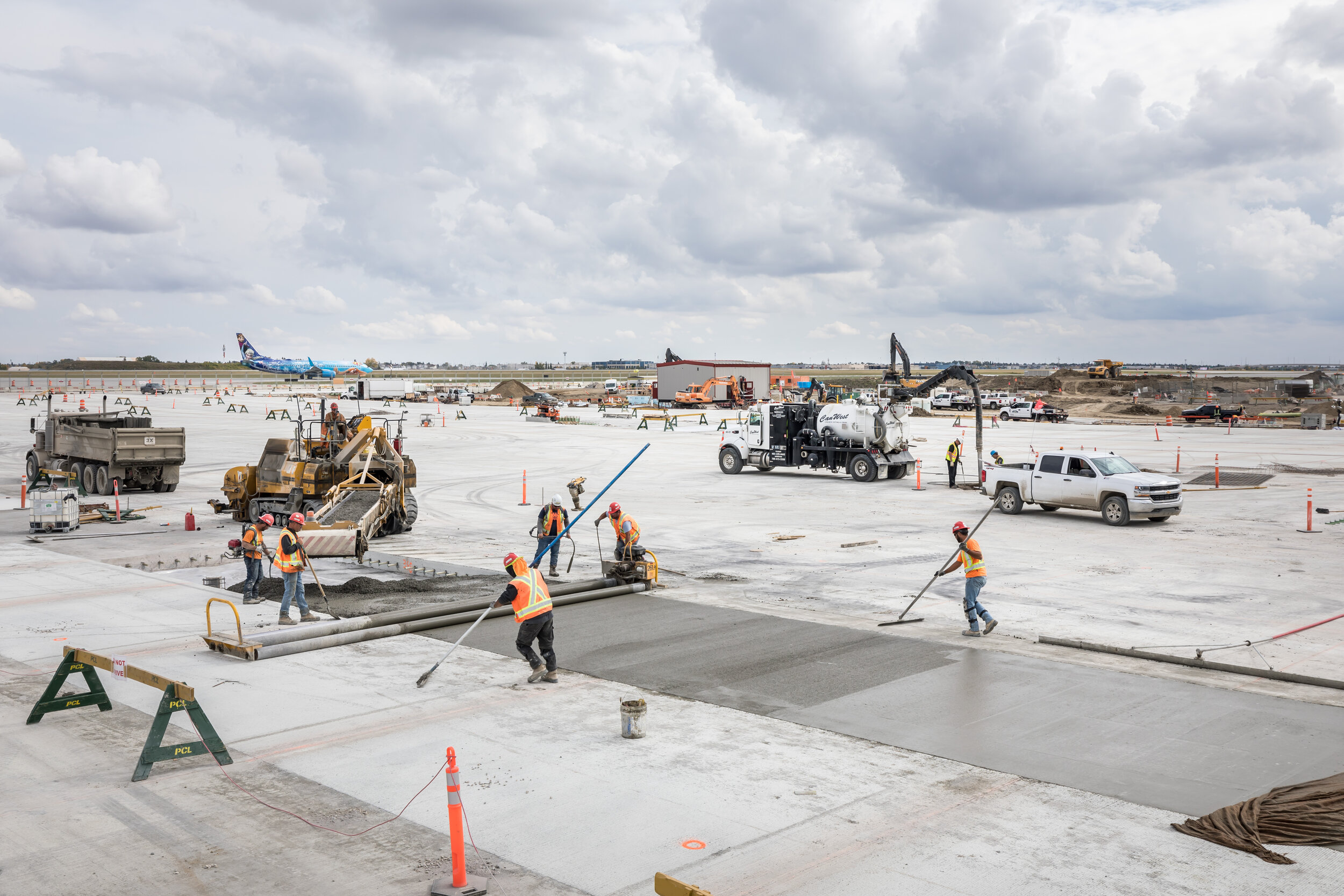CarbonCure concrete poured at Calgary International Airport reducing 160 tonnes of carbon emissions.