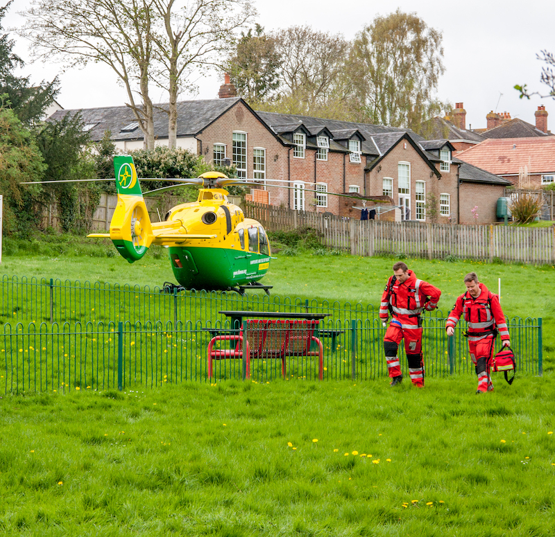 The Air Ambulance in Barry's Meadow