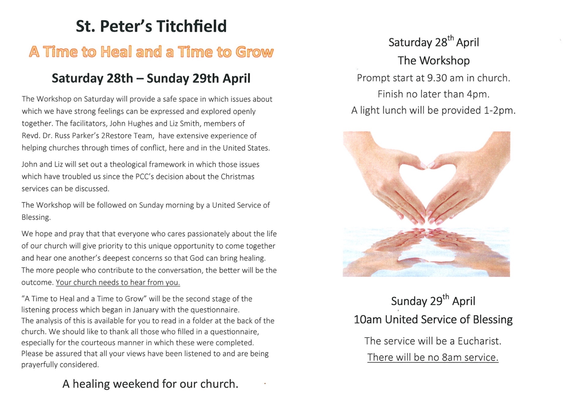 The flyer issued by the church
