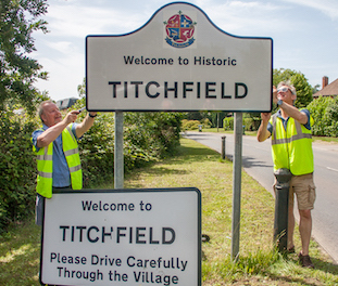 The Titchfield Emblem on one of the entry signs to the village.