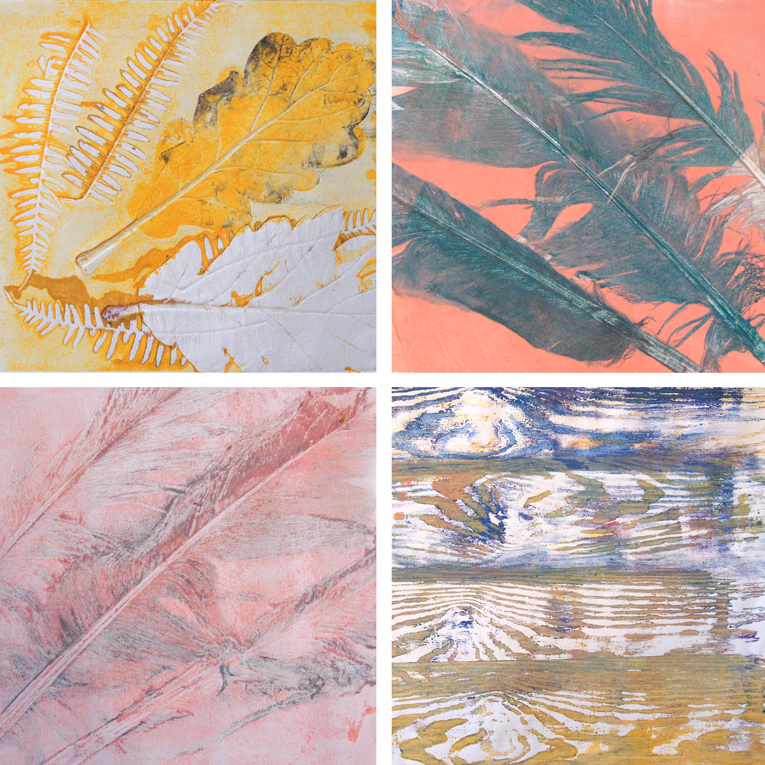 monoprints using feathers, leaves and wood