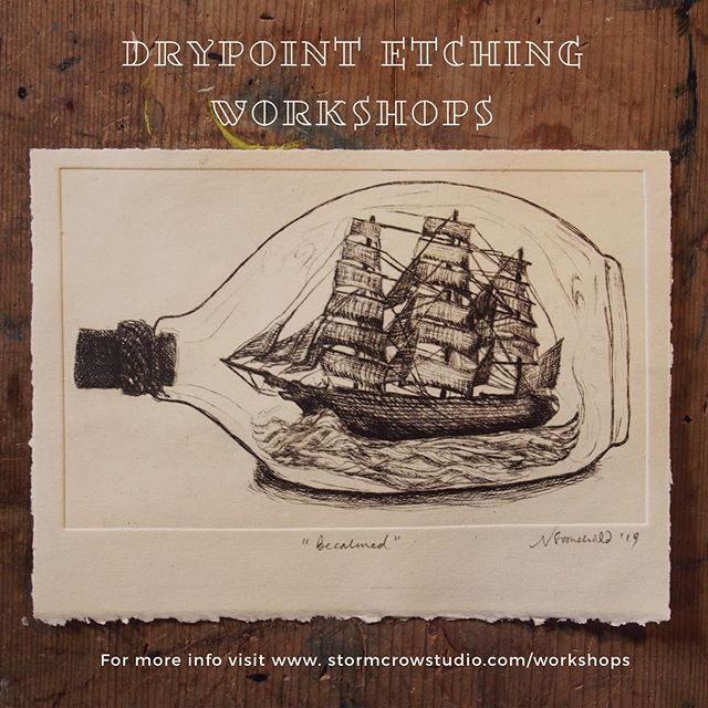 Join our DRYPOINT ETCHING SPRING WORKSHOPS - 9th Oct // 27th Oct // 1st Nov // 13th Nov // 21st Nov @ #stormcrowstudio 🐥🐥🐥🐥🐥I'm fascinated with ships in bottles...just how do they do it?!? 😍🤯 in lieu of actually learning how to put a ship IN a bottle I've created the next best thing - a #drypointetching of one!🙌☝️Come and learn the basics of this wonderful printing technique at Stormcrow Studio this Spring! You'll have so much fun learning how to create prints like this one☝️- it's actually surprisingly easy!! For more info follow the link in our bio. All materials are included. #nundlensw #outbacknsw #workshop #creativeworkshops #handmade #diy #event #breakaway #creativebreak