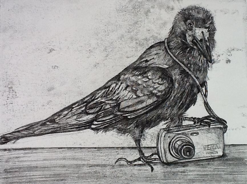Watch the Birdie. Monoprint.