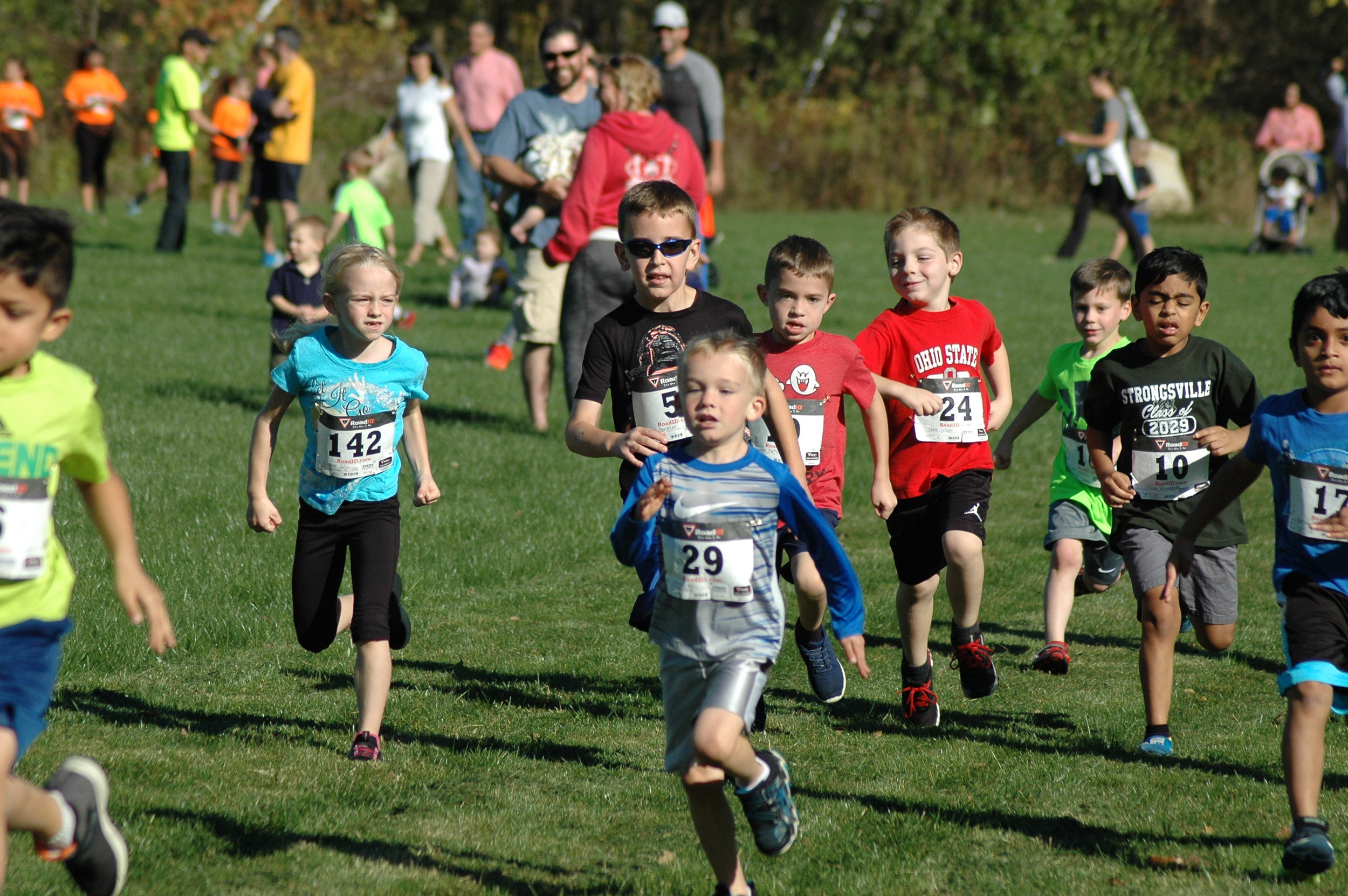 The start of the K-3 race in 2017!  Determined racers!