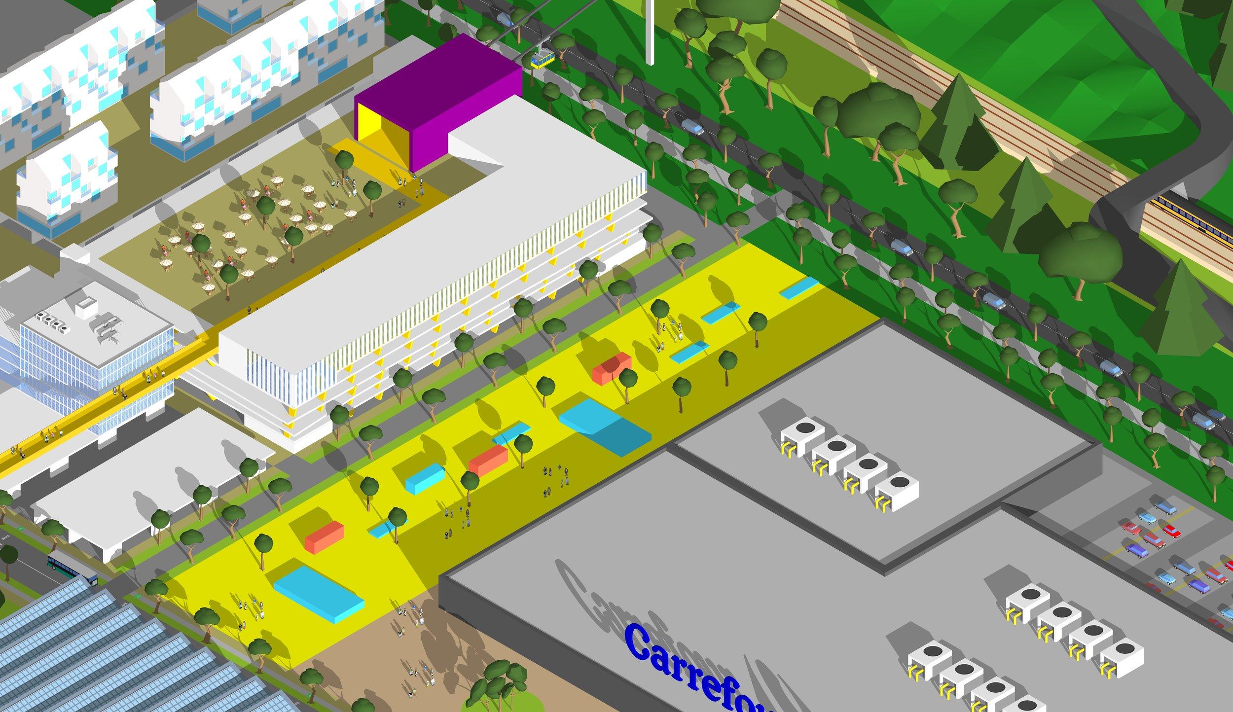 Axonométrie site des Landiers : nouvelle station intermodale