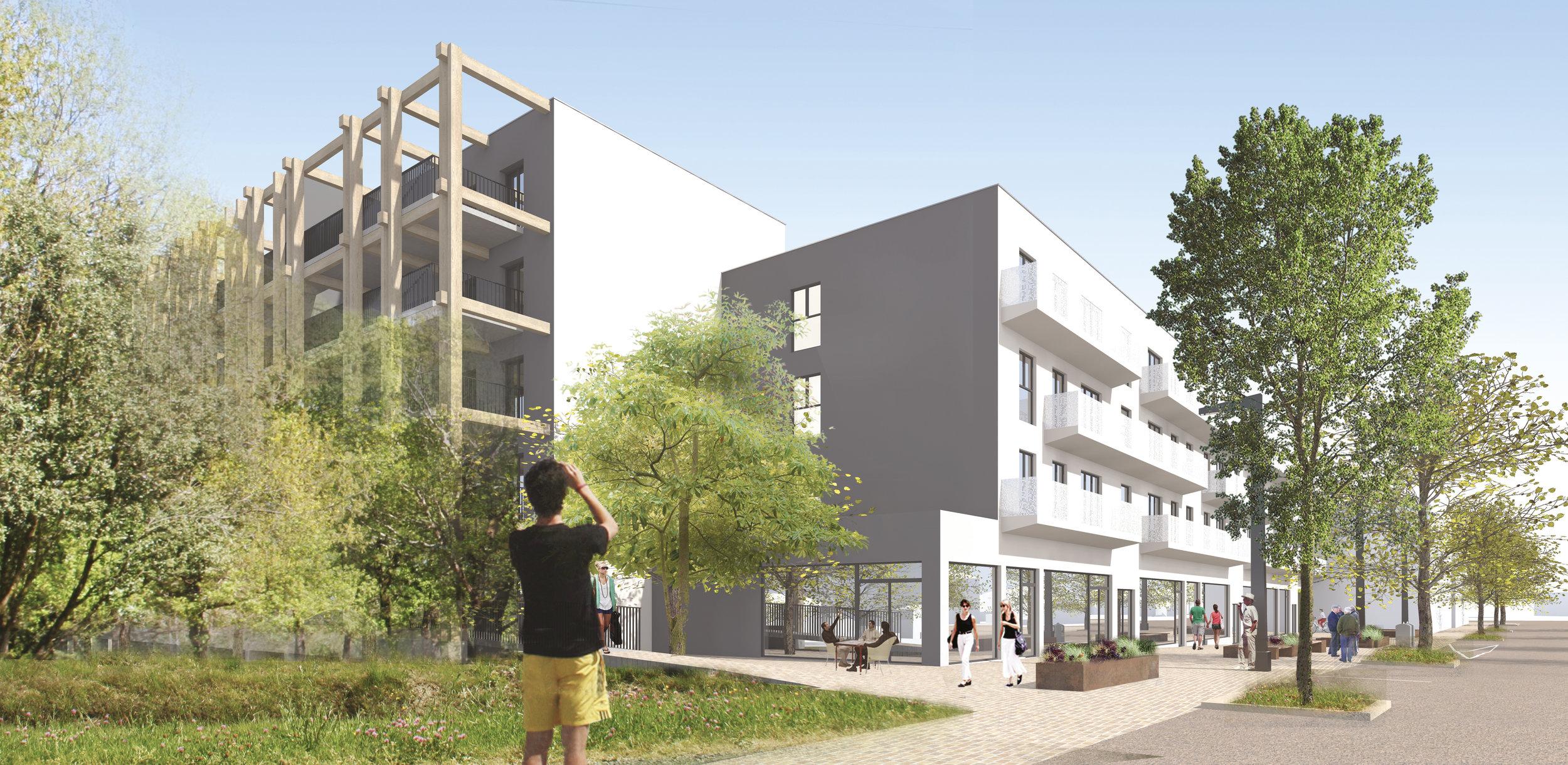 Perspective de l'avant projet : création d'ascenseur et de balcons, rénovation des cellules commerciales en rez de chaussée