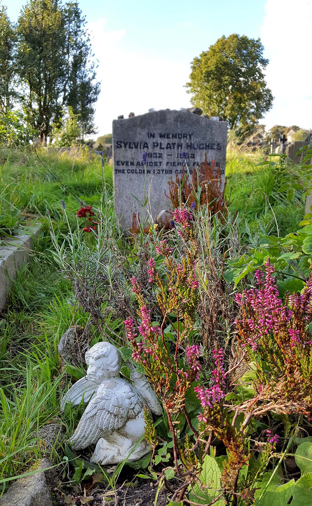 Flowers at Sylvia Plath's grave, Heptonstall