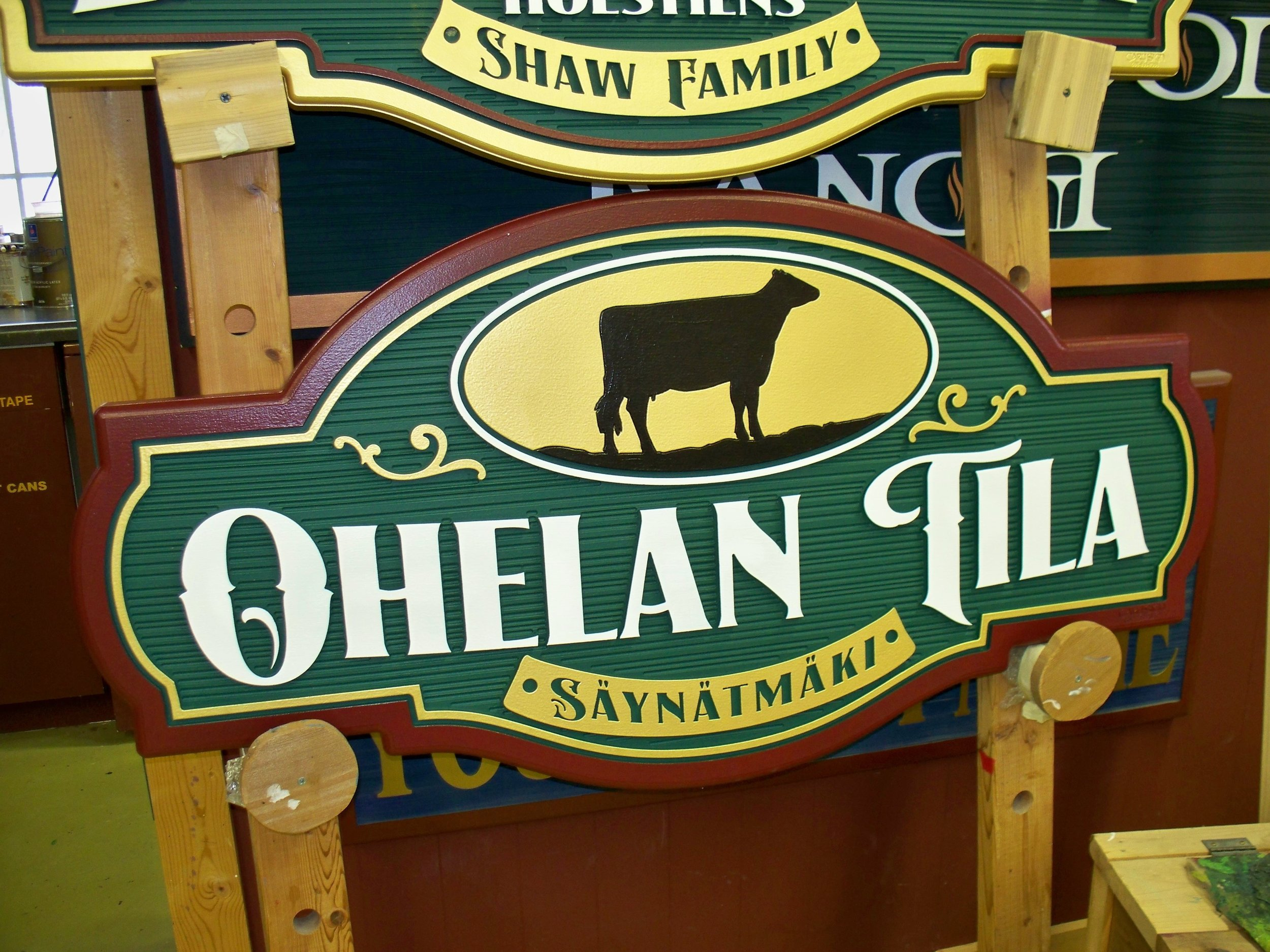2' x 4' Single-Sided. $740 with Black Silhouette Holstein