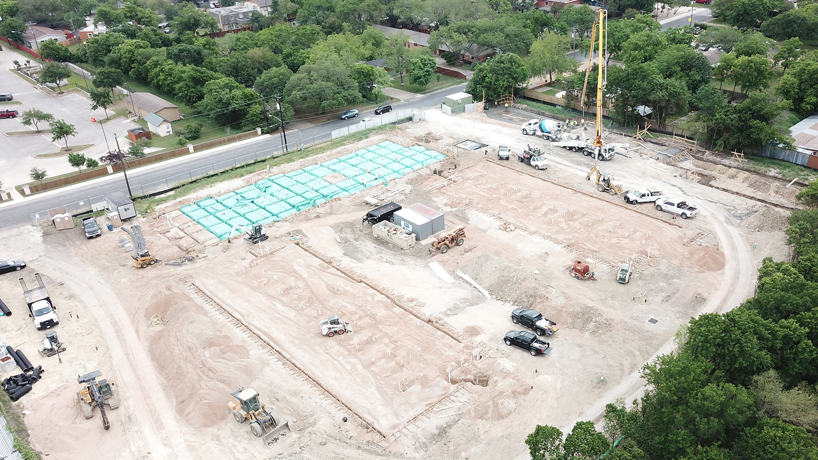Site aerial showing Building 1 slab pour