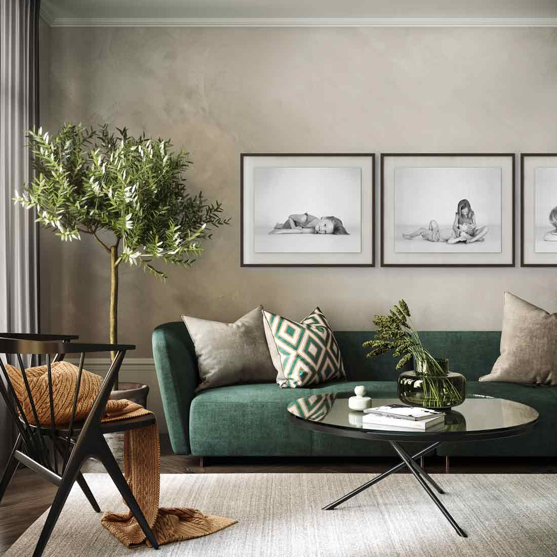 Three of our large framed prints look amazing and complement this chic and elegant interior