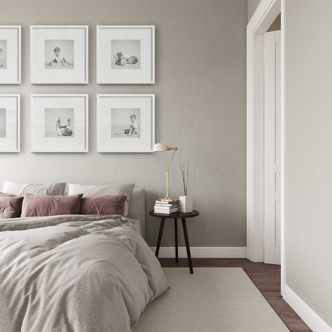Six of our small Square framed prints in your bedroom