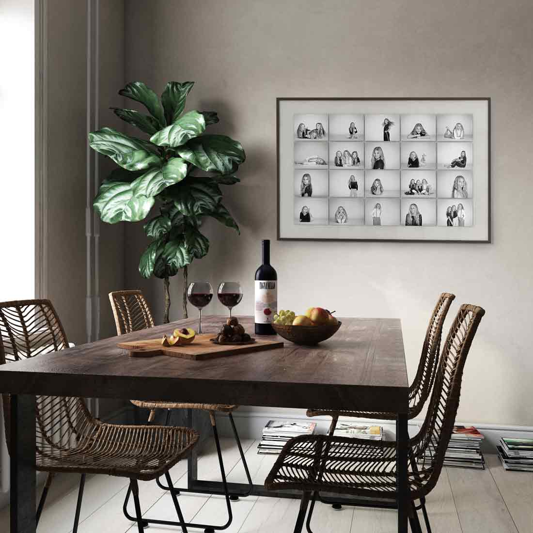 A twenty image montage contact sheet in your dining area