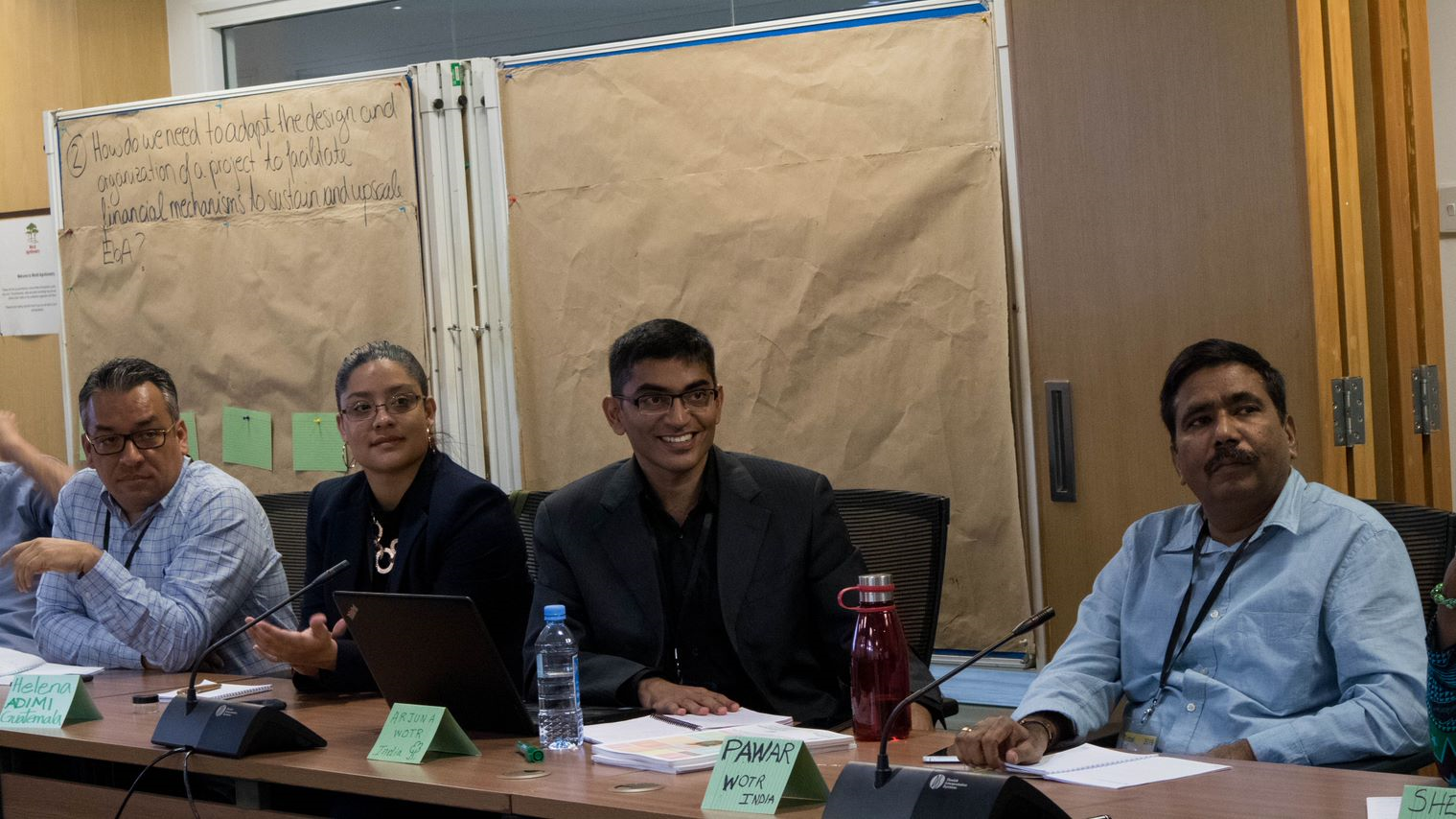 Plenary discussion with all participants on current challenges in EbA mainstreaming (pictured from left to right: Magner Adolfo Estrada Barrera (Ministry of Environment, Guatemala); Helena Dávila Esquivel (ADIMI), Arjuna Srinidhi (WOTR); Photo: Bruno St-Jacques / TMG Research