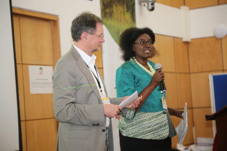 Aice Kaudia, Kenyan environmentalist and Alexander Muller of TMG ThinkTank. Photo: World Agroforestry