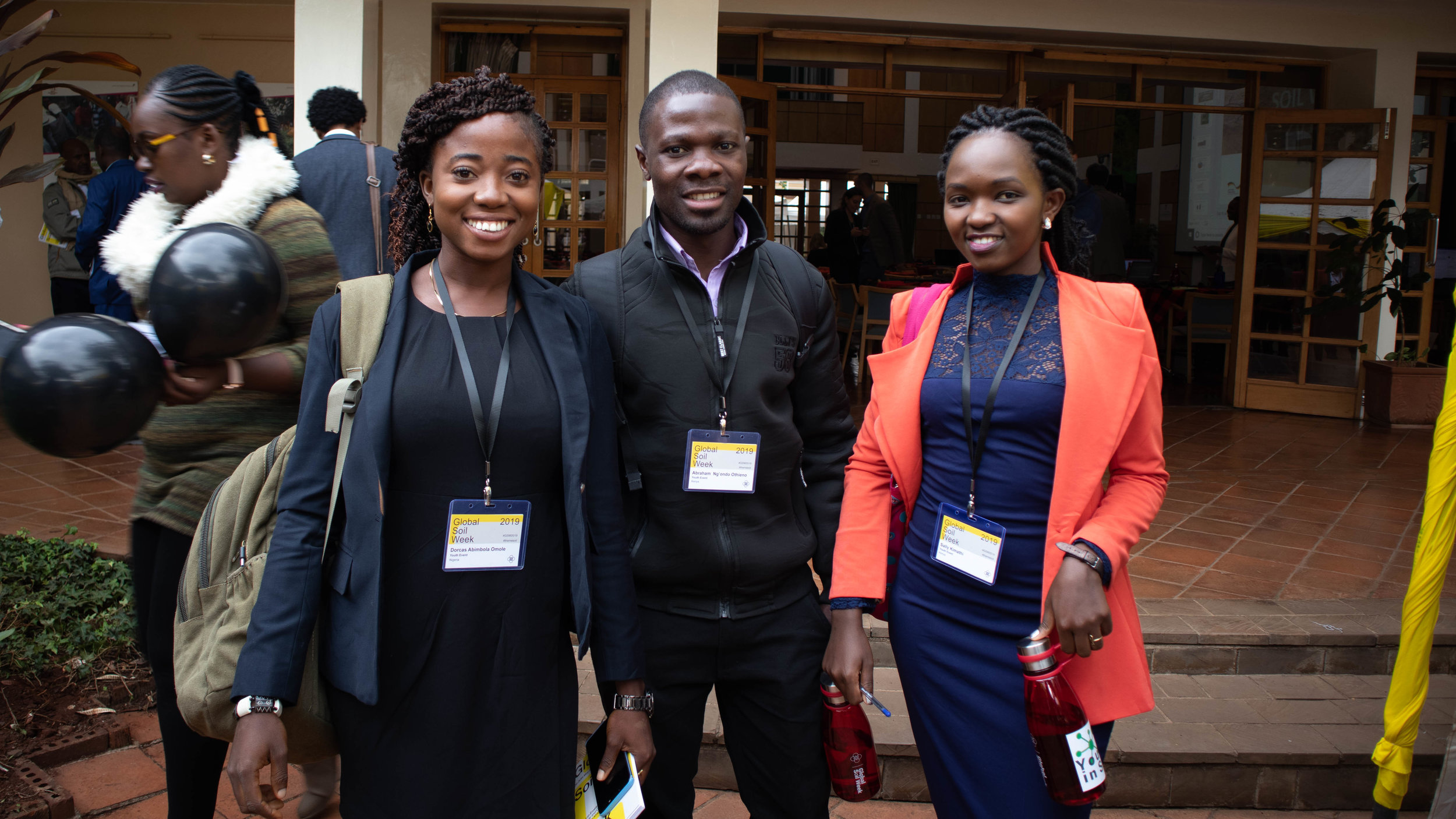 Abraham Ng'ondo (in the middle), Dorcas Abimbola (on the left) and Sally Kimathi (on the right)