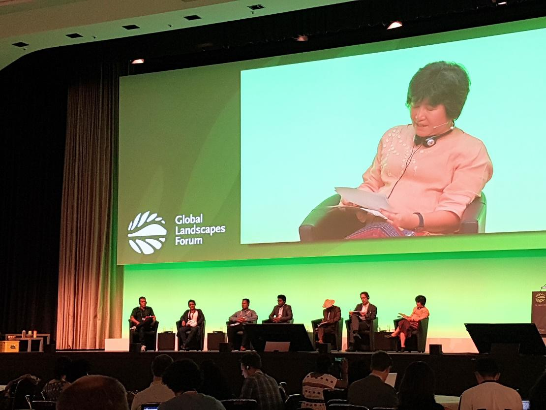 The opening session of GLF Bonn 2019, discussing the growing threats to defenders of environmental justice worldwide / Photo: Chelsea Jones, TMG Research gGmbH