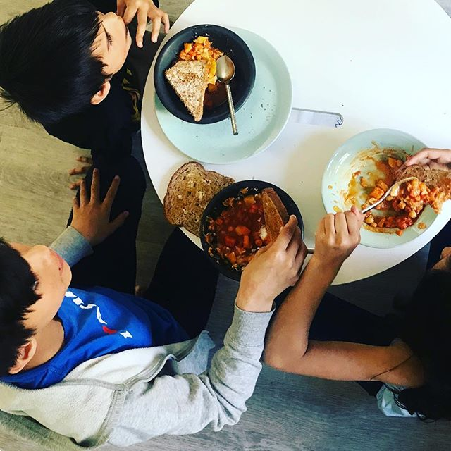 Nothing makes me happier than seeing my kids wolf down a vegetarian stew and THEN ask for more. #imnotvegetarian#supertasters#onepotmeals