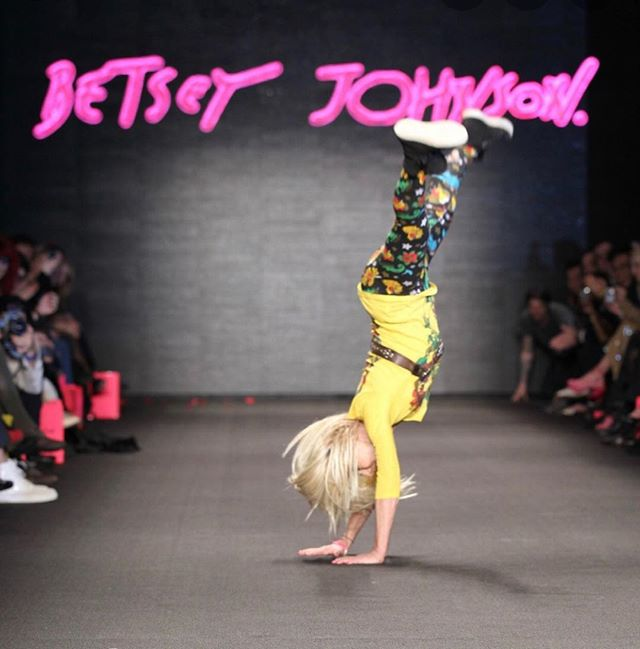 For those of you who haven't heard of the amazing Betsey Johnson, she is a  fashion icon who at 74 still performs a cartwheel into splits as a finale to her shows. Move it or lose it. #moveit#fitatanyage#betseyjohnson#lifegoals#movethat