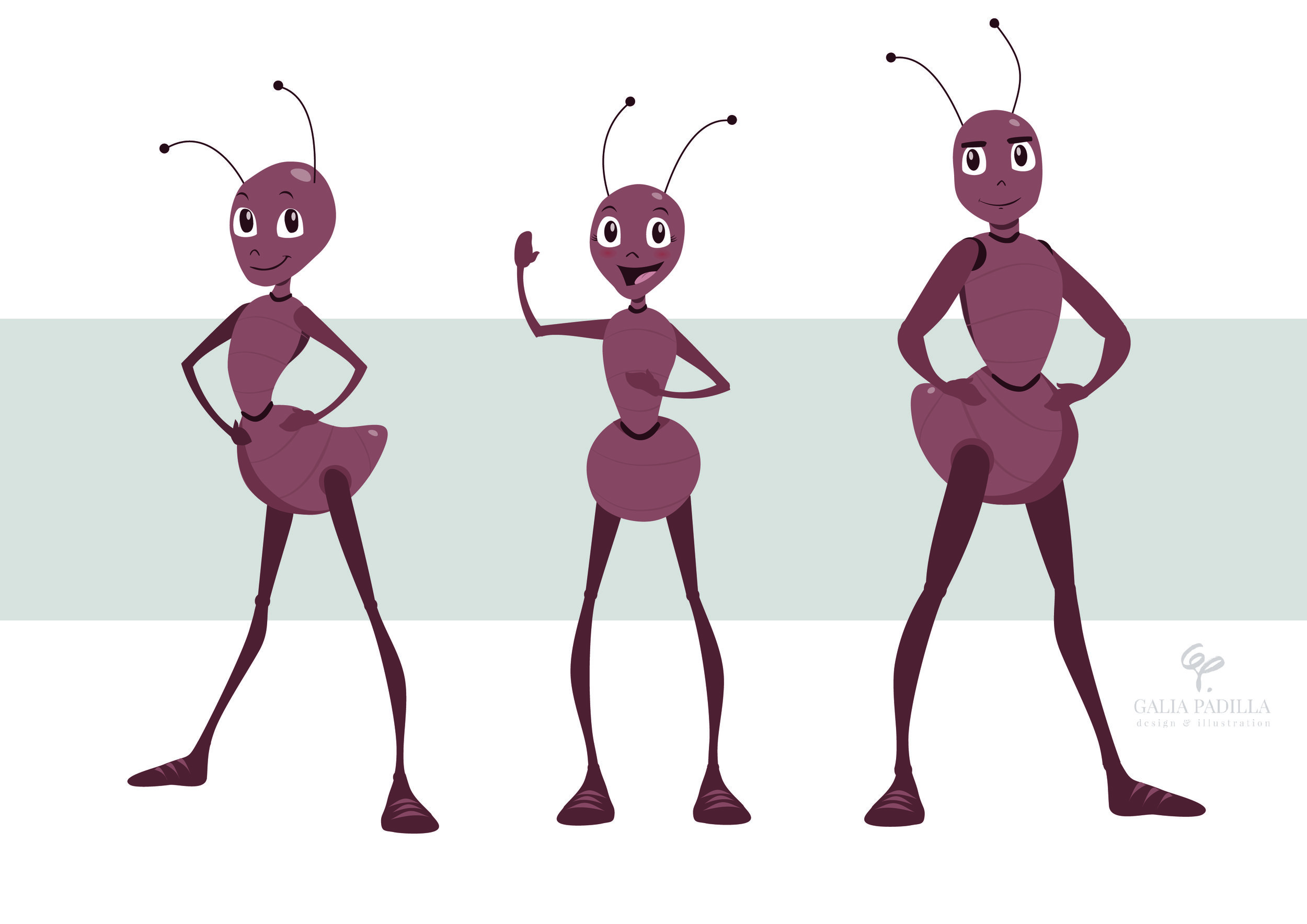 Portraying of an intelligent ants that works in team. Chosen one of three. Created in vector, fully animatable.