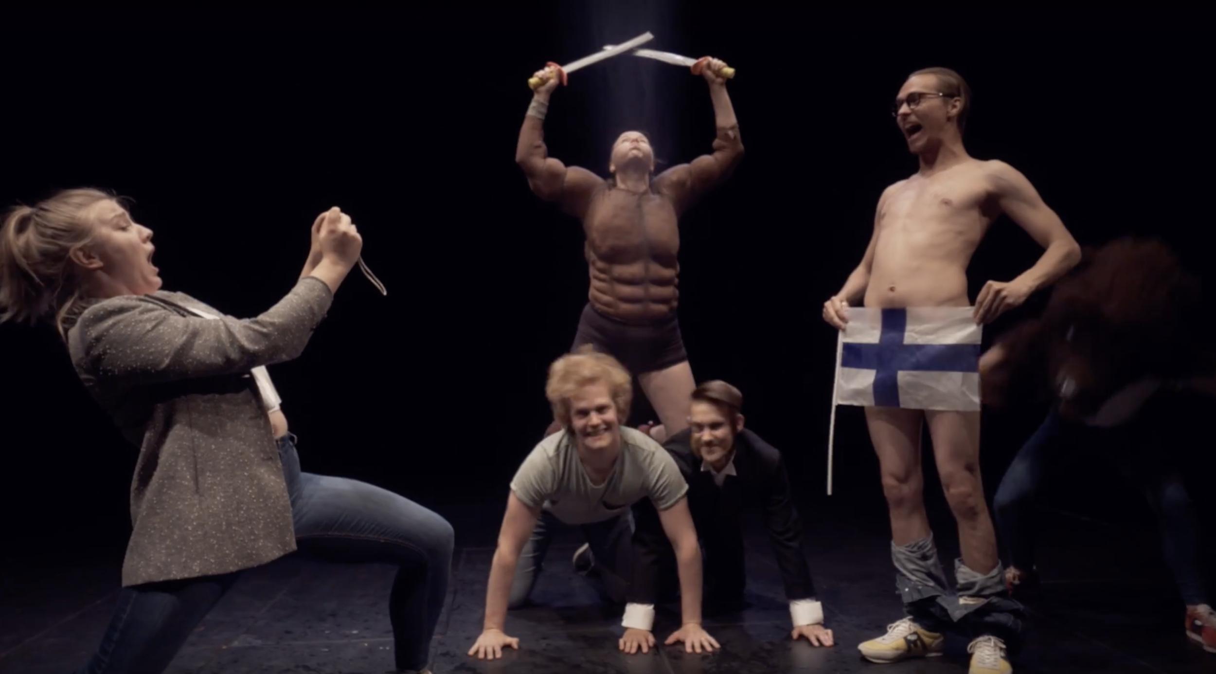 Musiikkiteatteri NYT musiikkivideon kuvauksista pätkä