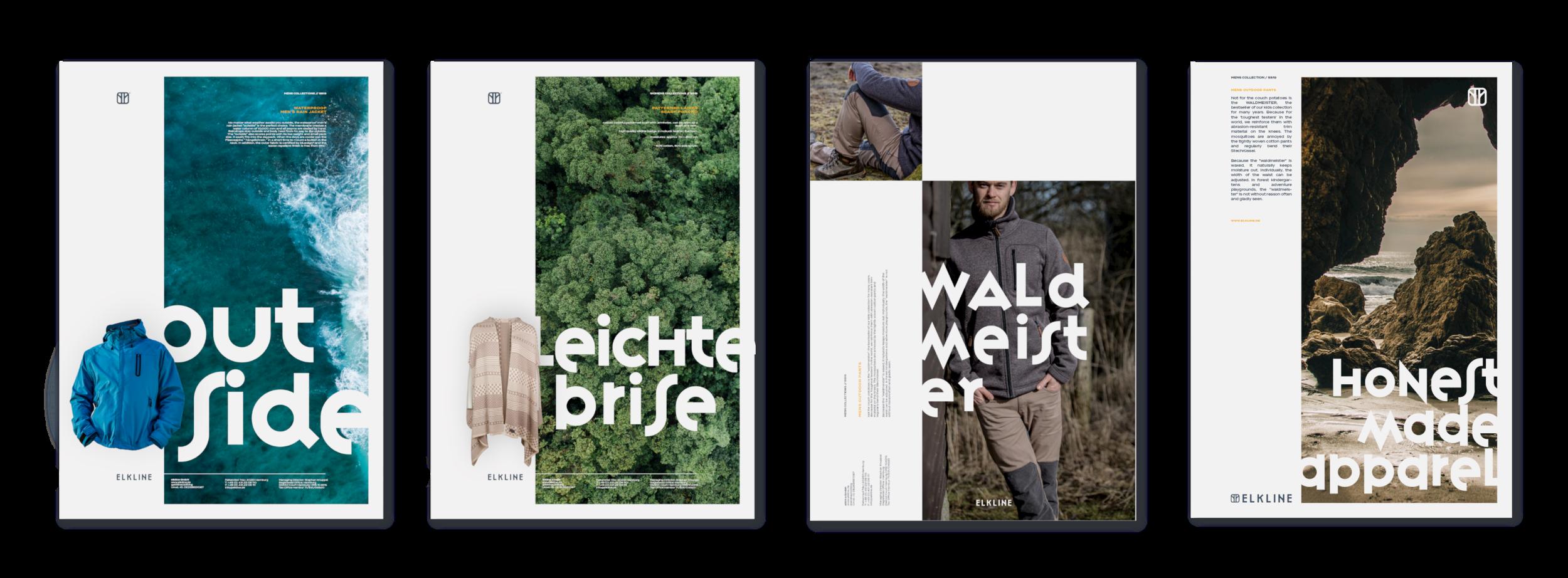 ELKLINE, Outdoor Fashion Apparel Brand, Advertisement Design and Layout