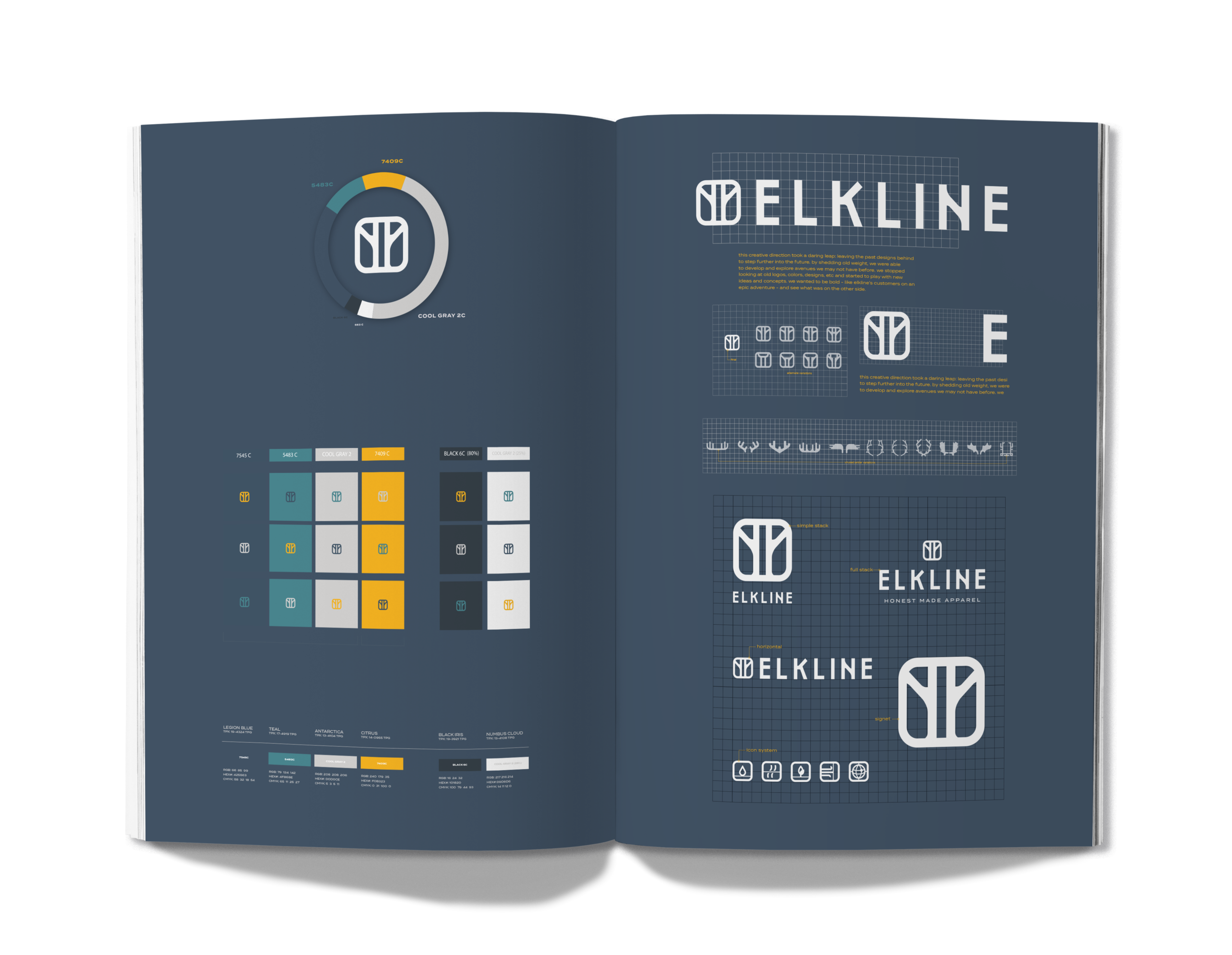ELKLINE, Outdoor Fashion Apparel Brand, Branding Manual Design Layout