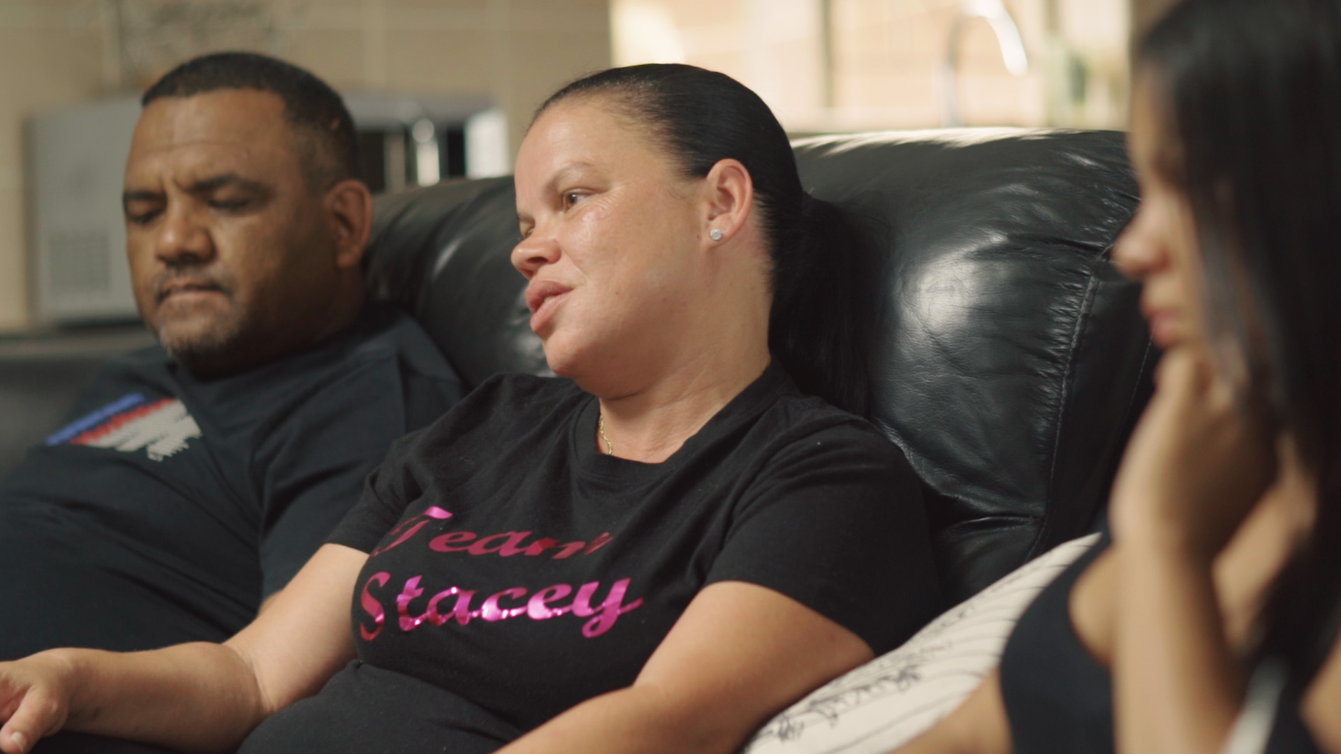 LIZEL MAY, HER HUSBAND (LEFT) AND STACEY-LEE MAY (RIGHT). CREDIT: LURE