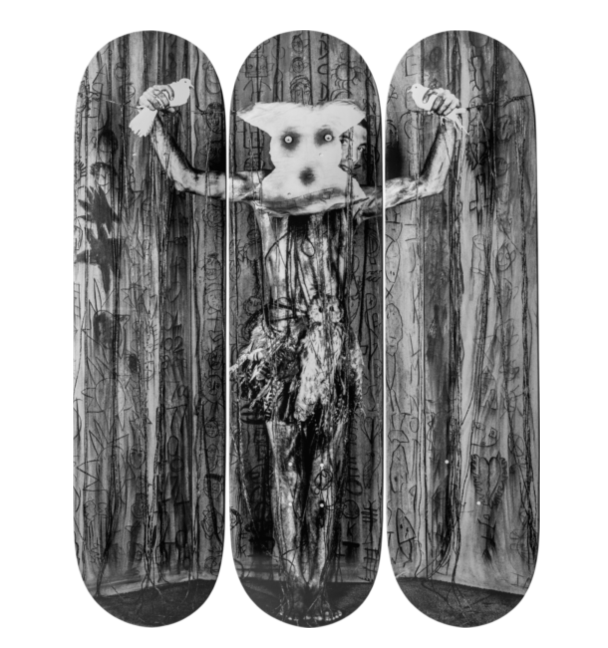"Alter Ego: Roger Ballen x The Skateroom - A collaboration between Roger Ballen and The Skateroom. Find Ballen's classic ""Alter Ego"" printed across 3 skateboard decks. Signed by the artist himself, this piece is available in a limited edition of 50 with proceeds going to charity.(Photo Credit: The Skateroom)Discover the full story in Issue 9."