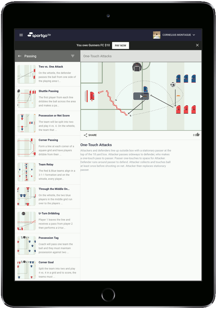 Animated Drills - Access hundreds of animated drills and create fully customizable playlists for your entire team to watch.