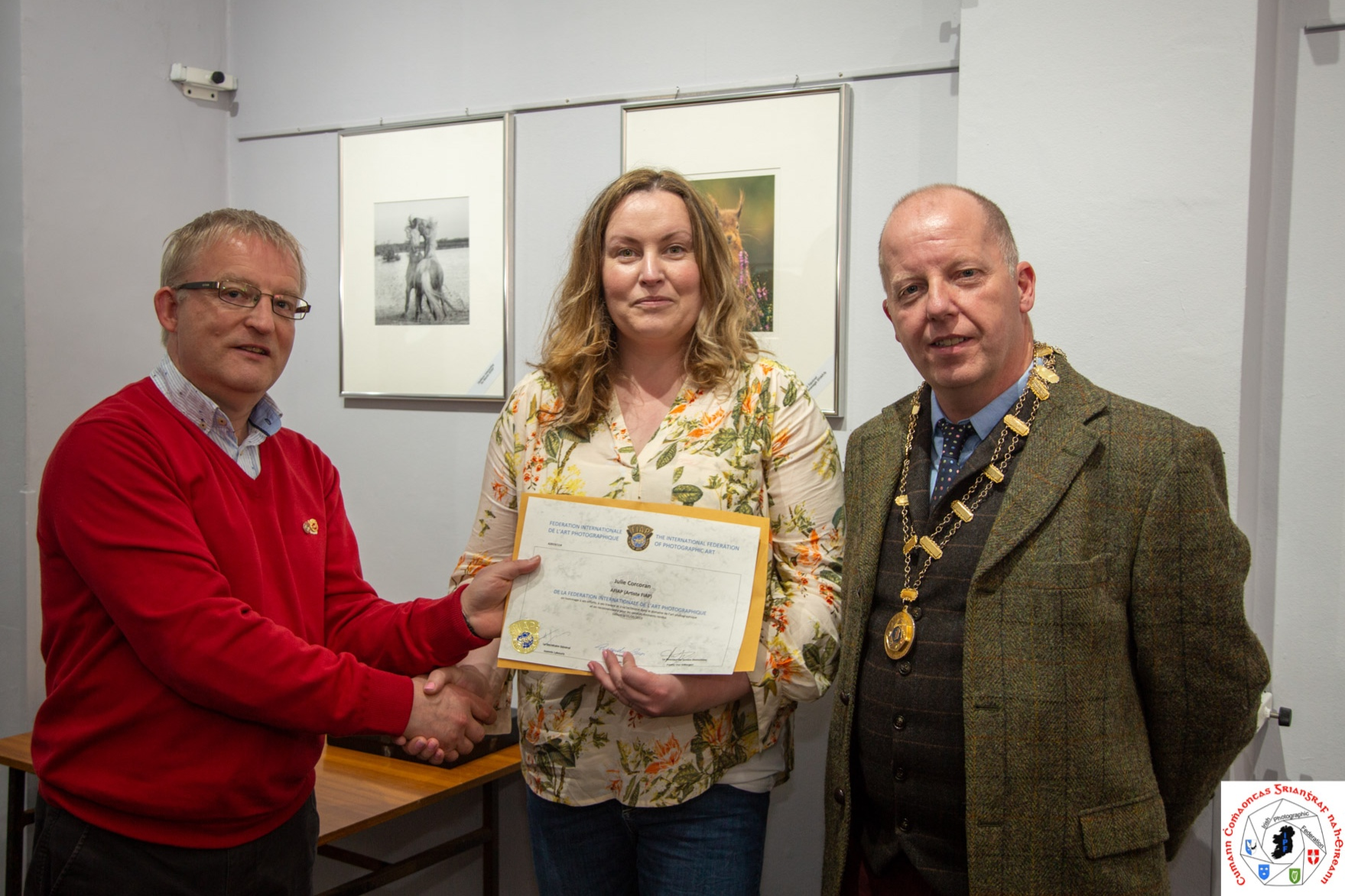 Me receiving my Artiste FIAP Award from FIAP Liaison officer, Paul Stanley FIPF, EFIAP/g and Irish Photographic Federation President, Dominic Reddin FIPF. Photo Credit: IPF Vice-President, Liam Beattie.