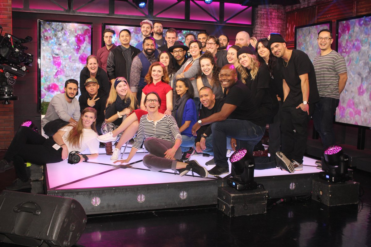 (Above) Sara on the set of Rapping With Actors - Bell Fibe TV1 - Associate Producer and Writer