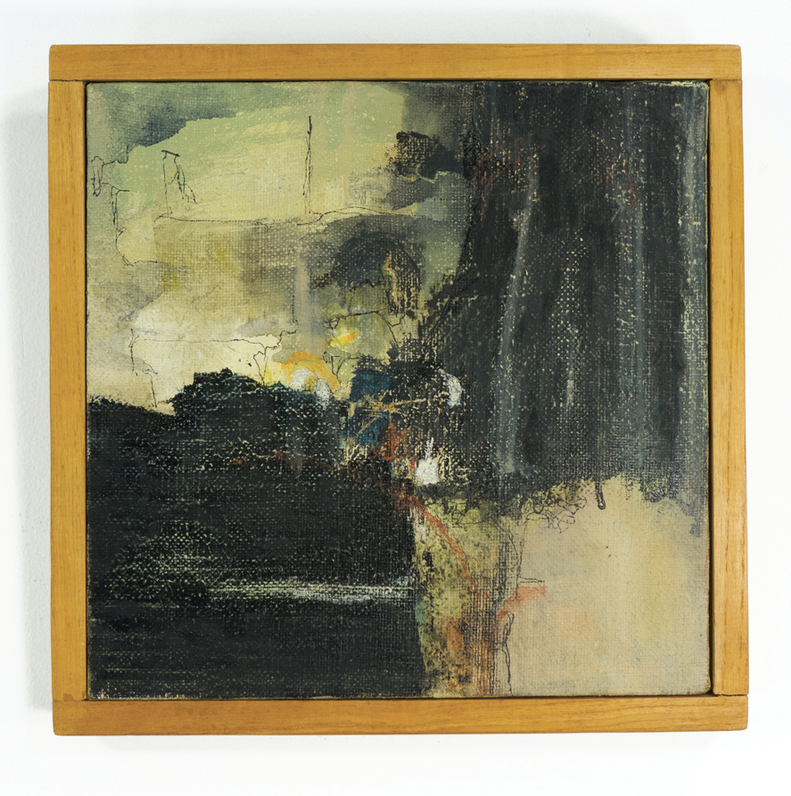 "The Gates, Courtyard and so on; 1959; Oil and/or Casein on canvas; 9x9"" framed; Item #037"